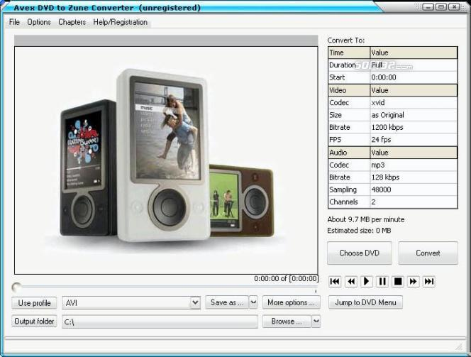 Avex DVD to Zune Converter Screenshot 2