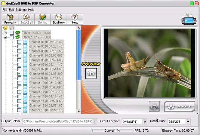 DVD to PSP C0NVERTER Screenshot