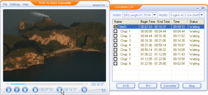 DVD To OGG Converter Screenshot
