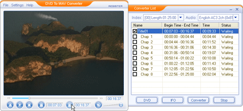DVD To WAV Converter Screenshot