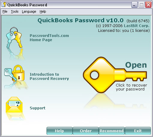 LastBit QuickBooks Password Recovery Screenshot