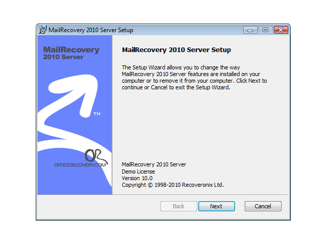 MailRecovery Server Screenshot