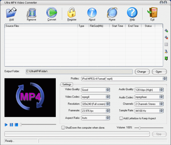 Ultra MP4 Video Converter Screenshot