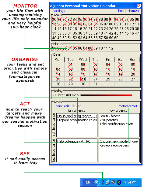 Personal Motivation Calendar Screenshot