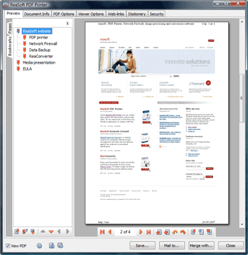 ReaSoft PDF Printer Screenshot