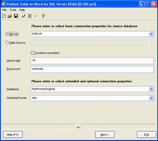 Publish Table to Word for SQL Server Screenshot