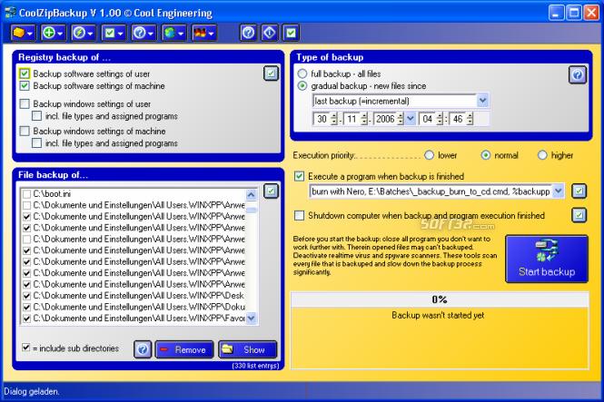 CoolZipBackup Screenshot 2