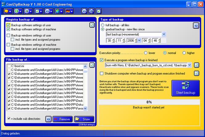 CoolZipBackup Screenshot