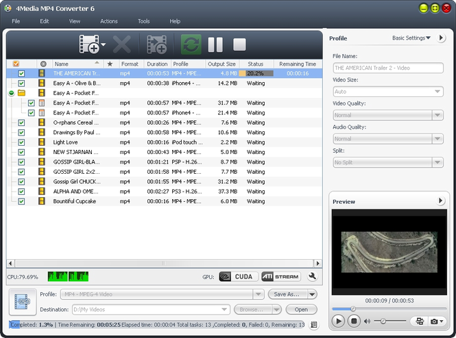4Media MP4 Converter Screenshot