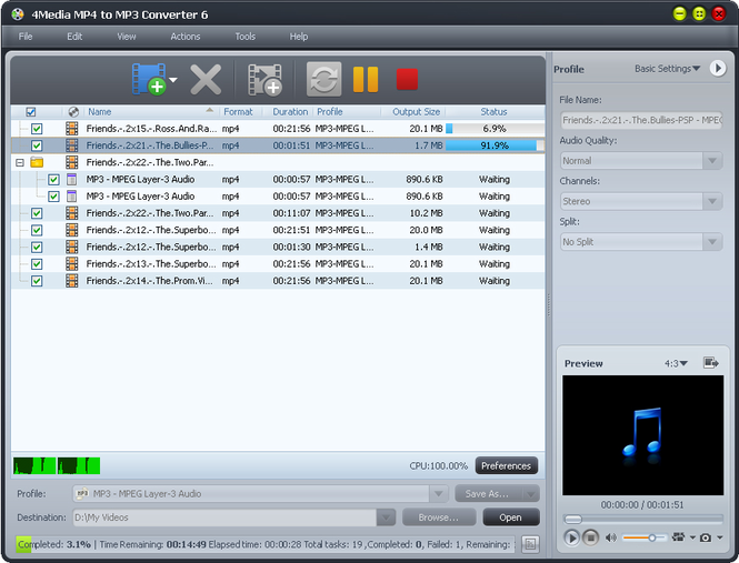 4Media MP4 to MP3 Converter Screenshot 1