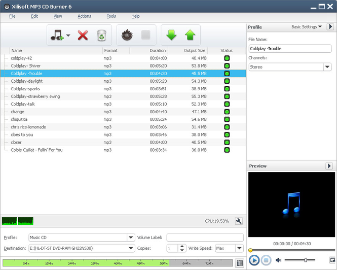 Xilisoft MP3 CD Burner Screenshot 1
