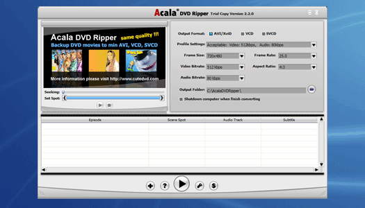 DVD Ripper + DivX to iPod + AVI DivX MPEG XviD VOB to PSP Screenshot