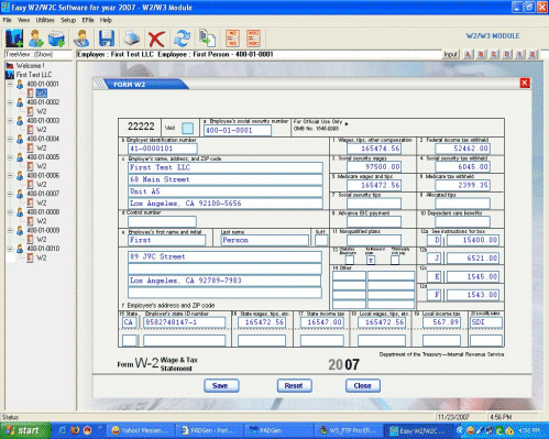EasyTax W2/1099 Software Screenshot