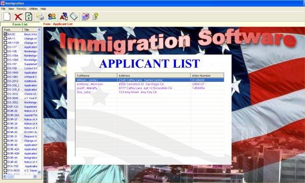 The  WYSIWYG Immigration Forms Processor Screenshot