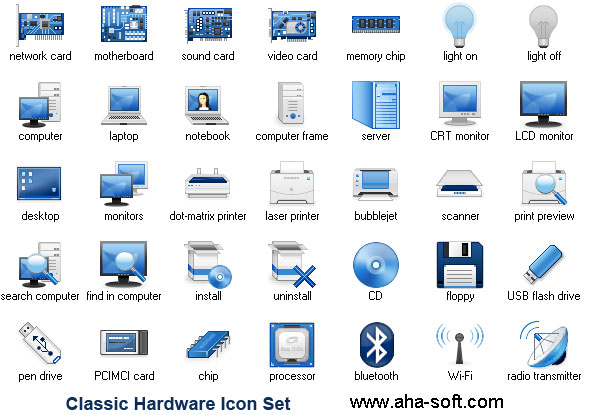 Hardware Icon Set Screenshot