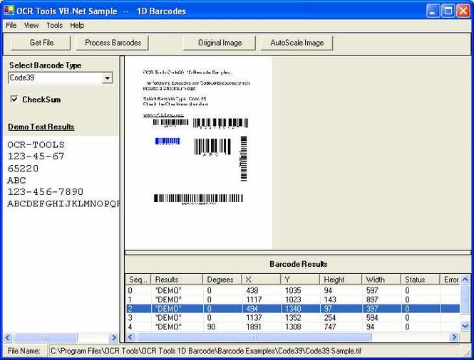 OCR .Net Barcode Components Screenshot