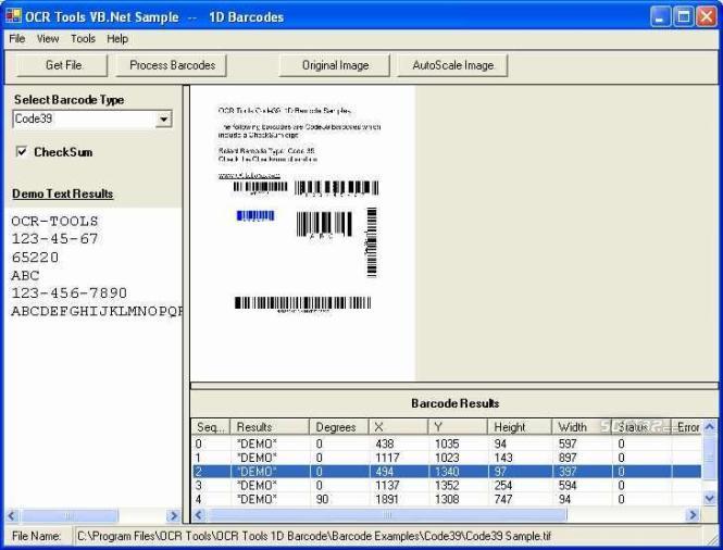 OCR .Net Barcode Components Screenshot 3