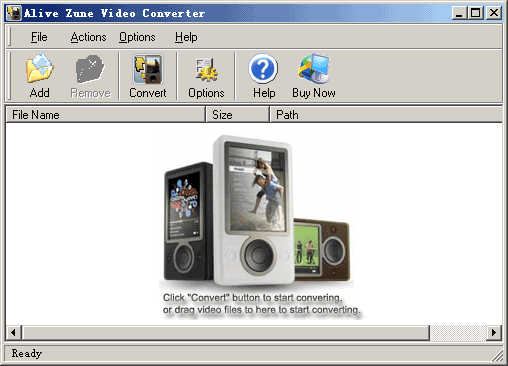 Alive Zune Video Converter Screenshot 1