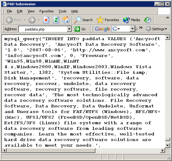 PAD Software Database Screenshot