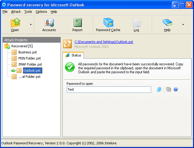 Outlook Password Recovery Wizard Screenshot 1
