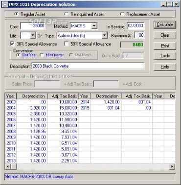 TVPX 1031Depreciation Solution Screenshot 2