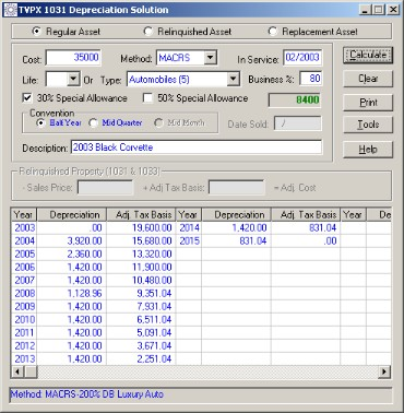 TVPX 1031Depreciation Solution Screenshot