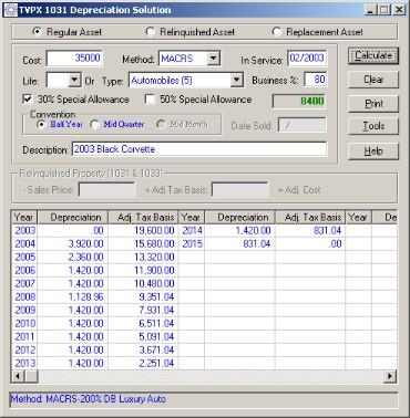 TVPX 1031Depreciation Solution Screenshot 1