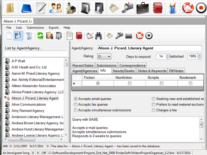 Writers Project Organizer Screenshot