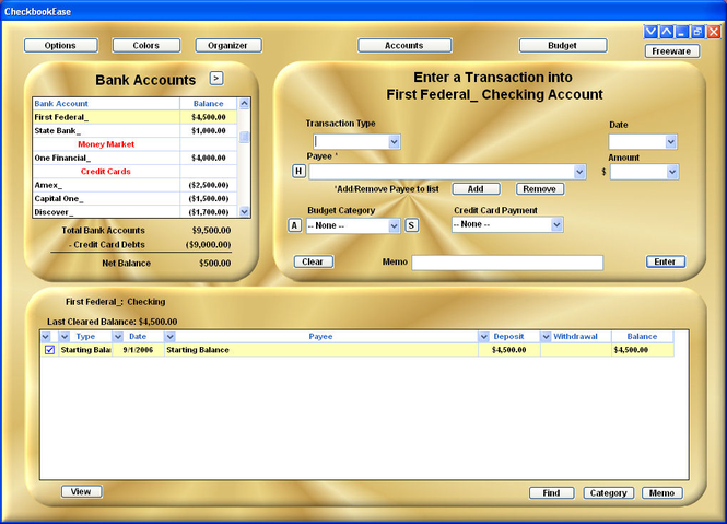Checkbook Ease Freeware Screenshot 1