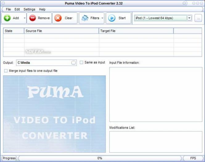 Puma Video To iPod Converter Screenshot