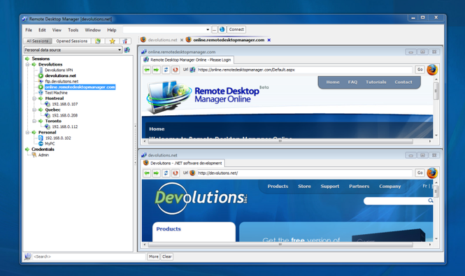 Remote Desktop Manager Screenshot