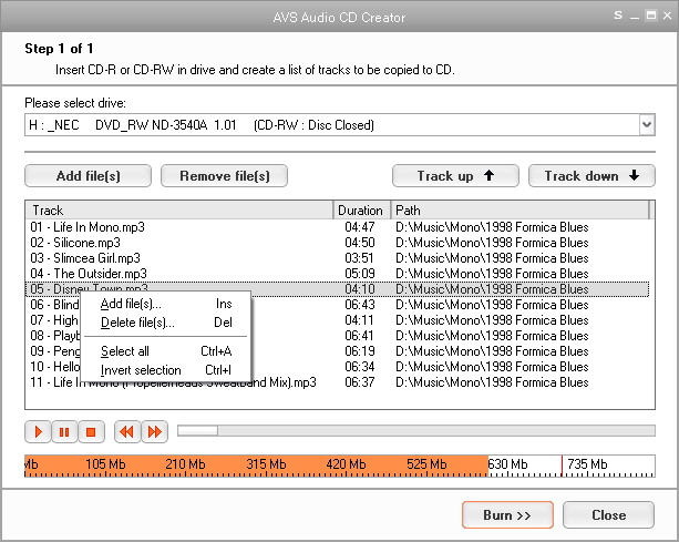 AVS Audio CD Creator Screenshot