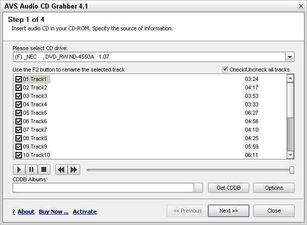 AVS Audio CD Grabber Screenshot 1