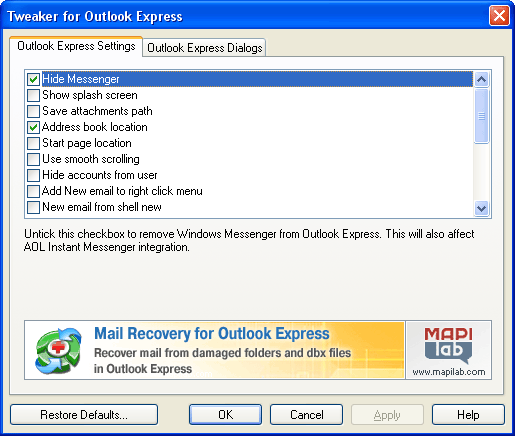 Tweaker for Outlook Express Screenshot 1