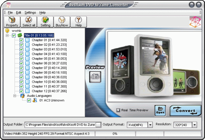 dvdXsoft DVD to Zune Converter Screenshot