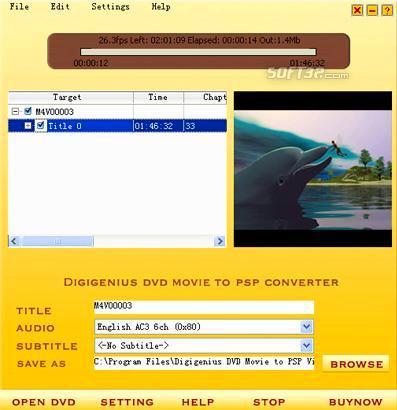 DigiGenius DVD to PSP Converter Screenshot 2