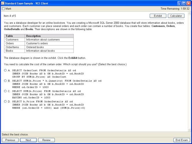 VCE Testing System Screenshot 1
