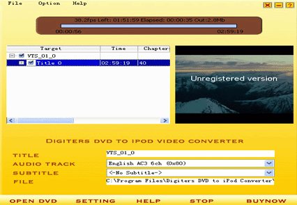 Digiters DVD to iPod Converter Screenshot