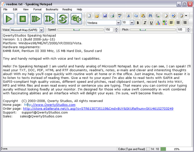 Speaking Notepad Screenshot