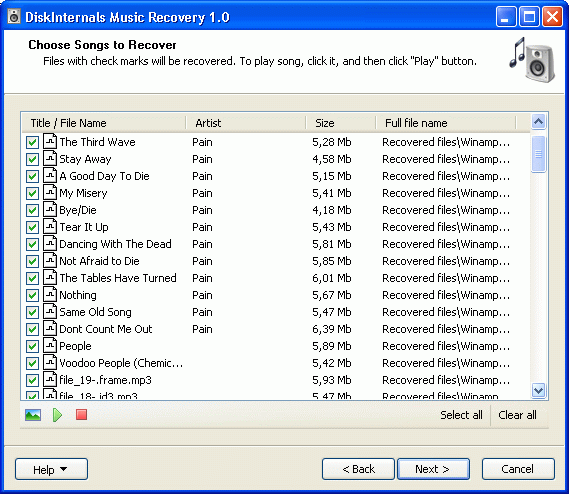 DiskInternals Music Recovery Screenshot