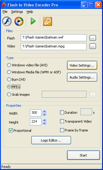 Flash to Video Encoder PRO Screenshot 1
