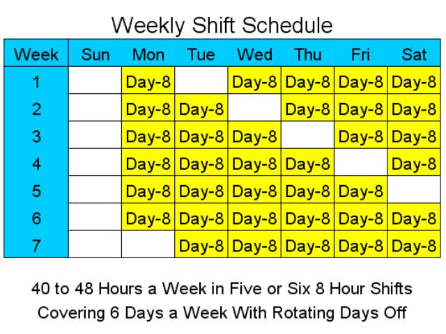 8 Hour Shift Schedules for 6 Days a Week Screenshot