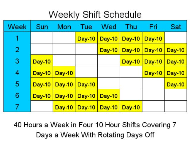 10 Hour Schedules for 7 Days a Week Screenshot