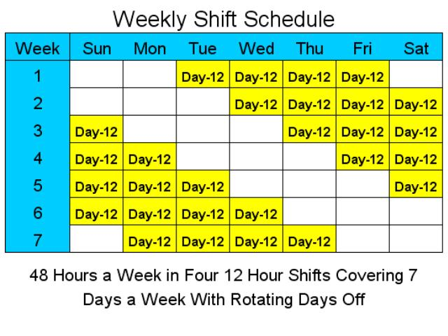 12 Hour Schedules for 7 Days a Week Screenshot