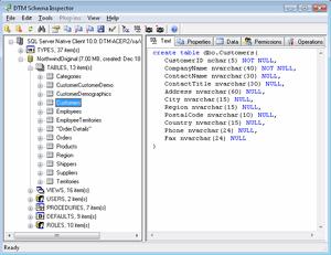 DTM Schema Inspector Screenshot