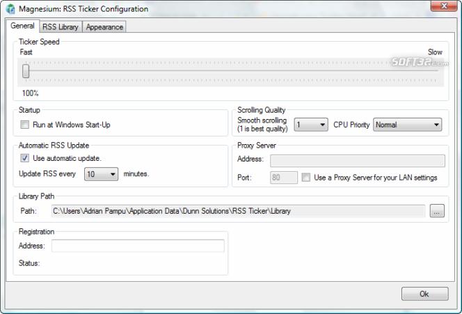 Magnesium: RSS 2.0 Ticker Screenshot 2