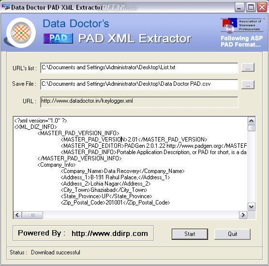 PAD Information Extraction Utility Screenshot 2