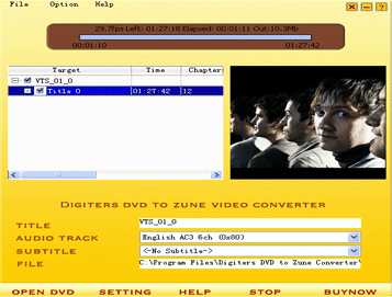 Digiters DVD to Zune Converter Screenshot 1