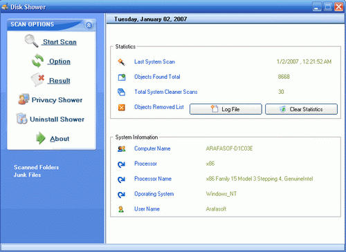 Disk Shower 2007 Screenshot