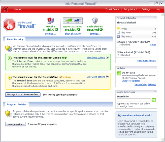 iolo Firewall Screenshot